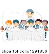 Happy Male Coach And A Team Of Football Player Boys Around A Blank Banner Sign