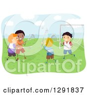 Clipart Of Happy Boys Playing Lacrosse Outdoors Royalty Free Vector Illustration by BNP Design Studio