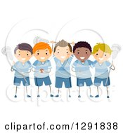 Clipart Of A Boys Team Of Lacrosse Players Royalty Free Vector Illustration