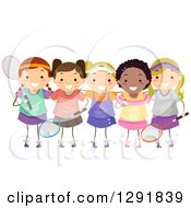 Clipart Of A Team Of Happy Badminton Player Girls Royalty Free Vector Illustration
