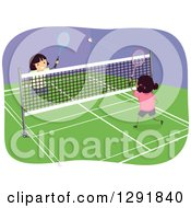 Clipart Of Happy Girls Playing Badminton Indoors Royalty Free Vector Illustration