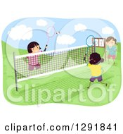 Clipart Of Happy Girls Playing Badminton Outdoors Royalty Free Vector Illustration