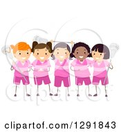 Team Of Lacrosse Player Girls In Pink Uniforms