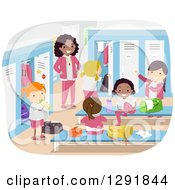Clipart Of A Female Coach Supervising Girls In A Locker Room Royalty Free Vector Illustration by BNP Design Studio