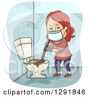 Clipart Of A Cartoon Red Haired Caucasian Woman Plunging A Nasty Toilet Royalty Free Vector Illustration by BNP Design Studio