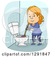 Clipart Of A Cartoon Happy Red Haired White Woman Plunging A Toilet Royalty Free Vector Illustration by BNP Design Studio
