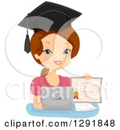Clipart Of A Proud Brunette Caucasian Woman Holding A Diploma By A Laptop Computer Royalty Free Vector Illustration by BNP Design Studio
