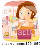 Clipart Of A Brunette Caucasian Woman Working On A Laptop And Eating At A Fast Food Restaurant Royalty Free Vector Illustration