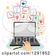 Clipart Of A Caucasian Hand Searching For A Job On A Laptop Computer Royalty Free Vector Illustration by BNP Design Studio