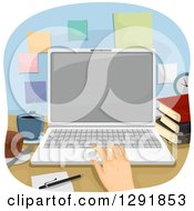 Clipart Of A Caucasian Hand Using A Laptop At An Office Desk Royalty Free Vector Illustration