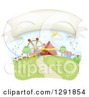 Clipart Of A Blank Banner In The Sky Over A Carnival Royalty Free Vector Illustration