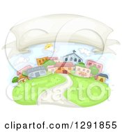 Clipart Of A Blank Banner In The Sky Over A Community Royalty Free Vector Illustration