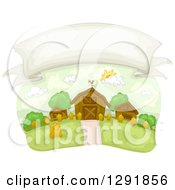 Clipart Of A Blank Banner In The Sky Over A Country Farm Royalty Free Vector Illustration by BNP Design Studio