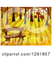 Clipart Of A Wood Bench At The Edge Of An Autumn Forest At Sunset Royalty Free Vector Illustration