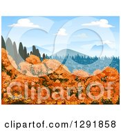 Clipart Of A Landscape Of Autumn Trees Evergreens And Mountains On A Sunny Day Royalty Free Vector Illustration by BNP Design Studio