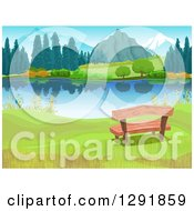 Clipart Of A Wood Bench On The Shore Of A Still Lake Near Mountains Royalty Free Vector Illustration