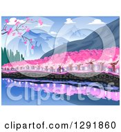 Clipart Of A Waterfront Line Of Cherry Trees At The Base Of A Mountain Royalty Free Vector Illustration