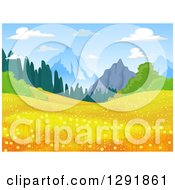 Clipart Of A Meadow With Golden Flowers And Mountains In The Distance Royalty Free Vector Illustration