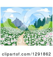 Clipart Of A Path Throug Ha Meadow Of Pink And White Flowers And Mountains In The Distance Royalty Free Vector Illustration