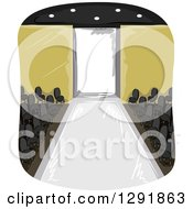 Clipart Of A Runway Stage In An Empty Room Royalty Free Vector Illustration