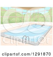 Clipart Of A Window Wall Around An Indoor Swimming Pool Royalty Free Vector Illustration by BNP Design Studio