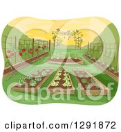 Clipart Of A Garden Of Raised Beds With Vegetables Royalty Free Vector Illustration