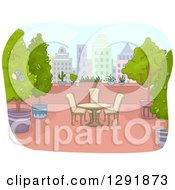 Clipart Of A Table And Chairs On A Roof Top Patio With Plants Royalty Free Vector Illustration