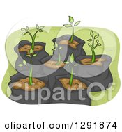 Clipart Of Sapling Plants In Garbage Bags Royalty Free Vector Illustration