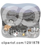 Clipart Of A Dump Yard With Trash Royalty Free Vector Illustration