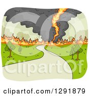 Clipart Of A Fire Tornado Crossing A Road Royalty Free Vector Illustration by BNP Design Studio