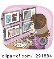 Clipart Of A Cartoon Brunette White Stock Market Employee Using Multiple Computer Monitors Royalty Free Vector Illustration