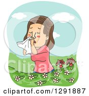 Clipart Of A Cartoon Brunette Caucasian Woman Suffering From Allergies In A Flower Field Royalty Free Vector Illustration by BNP Design Studio