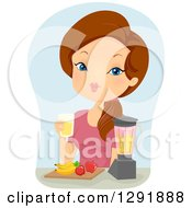 Clipart Of A Brunette Caucasian Woman Making Fruit Smoothies Royalty Free Vector Illustration by BNP Design Studio