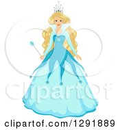Clipart Of A Blond Caucasian Fantasy Ice Queen In A Blue Dress Royalty Free Vector Illustration by BNP Design Studio