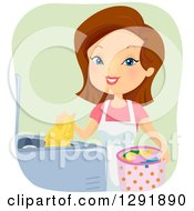 Clipart Of A Happy Brunette Caucasian Woman Starting A Load Of Laundry Royalty Free Vector Illustration