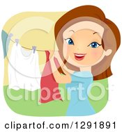 Clipart Of A Brunette Caucasian Woman Hanging Laundry On A Clothesline Royalty Free Vector Illustration by BNP Design Studio