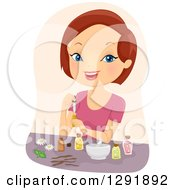 Clipart Of A Brunette Caucasian Woman Mixing Essential Oils Royalty Free Vector Illustration