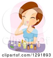 Clipart Of A Brunette Caucasian Woman Smelling Essential Oils Royalty Free Vector Illustration