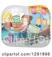 Clipart Of A Cartoon Brunette Caucasian Woman On A Shopping Spree Royalty Free Vector Illustration