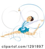 Clipart Of A Brunette Female Ribbon Dancer Gymnast Leaping Royalty Free Vector Illustration