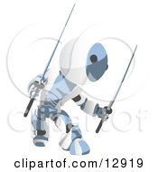 Blue Metal Robot Ninja With Two Swords Clipart Illustration