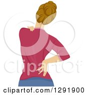 Clipart Of A Rear View Of A Dirty Blond White Woman Touching Her Painful Back Royalty Free Vector Illustration