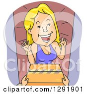 Clipart Of A Cartoon Excited Blond Caucasian Woman Receiving A Package Royalty Free Vector Illustration