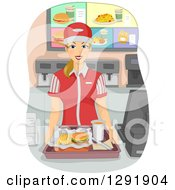 Blond Caucasian Female Fast Food Restaurant Worker Holding A Tray At A Counter