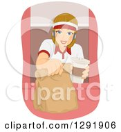 Clipart Of A Blond Caucasian Female Fast Food Restaurant Worker Holding Out A Take Out Bag Through A Drive Through Window Royalty Free Vector Illustration by BNP Design Studio