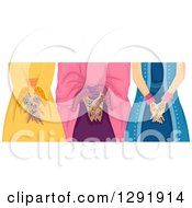 Clipart Of Three Muslim Girls With Henna Tattoos On Their Hands Royalty Free Vector Illustration by BNP Design Studio