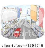 Clipart Of A Lone Card Traveling Down A Road Of Giant Billboards Royalty Free Vector Illustration