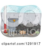 Clipart Of A Pile Of Smelly Trash Bags By A Can Royalty Free Vector Illustration