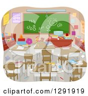 Clipart Of A Cluttered Messy Empty Classroom Royalty Free Vector Illustration