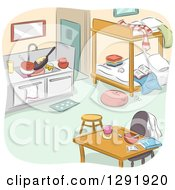 Clipart Of A Messy Studio Apartment Interior With Bunk Beds Royalty Free Vector Illustration
